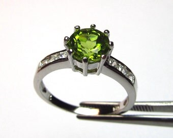 Great Glowing Peridot in an Accented Sterling Silver Setting Size 7