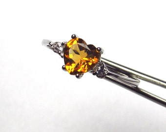 Wonderful Genuine Madeira Citrine Heart in a Pretty Accented Sterling Silver Setting
