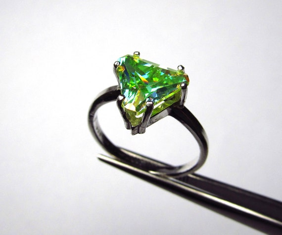 Stunning Astral Glow Genuine Topaz Trilliant in Sterling Silver Ring Size 7