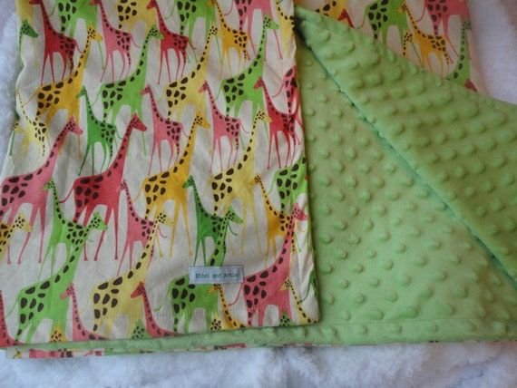 "SALE - Large Stroller Blanket - Giraffe Cotton and Light Green Bubble Minky-  Baby Girl - 34"" x41"""