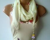 Cream scarf, handmade summer scarf, turkish oya scarf shawl, Bandana, spring fashion, fashion-weddings-bridal