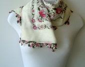 Turkish Anatolians white colourful scarf, Oya - Yemeni - Floral Cotton Fabric colorful Scarf Shawl Crochet Lace, Cowl Headband Necklace