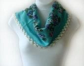 Vintage Pure cotton Turkish Anatolians turquoise blue scarf, Oya - Yemeni - Floral colorful Scarf Shawl Crochet Lace, Cowl Headband Necklace