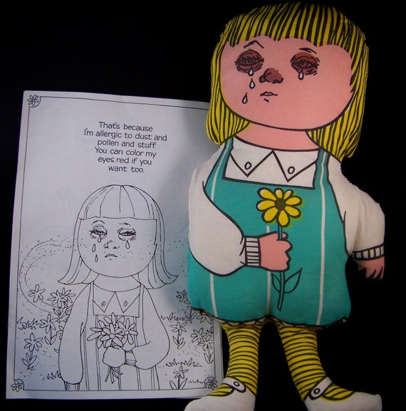 Allergy Annie Vintage Hay Fever and Cat Hair Allergy Doll and Coloring Book From Honeywell Air Cleaning in the I'm O.K. You're O.K. Era