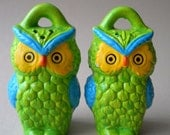 Summer Sale Vintage Retro Owl Colorful Salt and Pepper Shakers