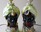 Vintage African Head Shawnee Blackamoor Table Lamps, 1950's