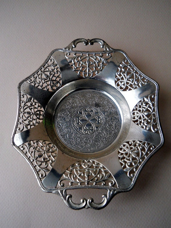 Vintage Silver Toned Metal Dish Made in Occupied Japan