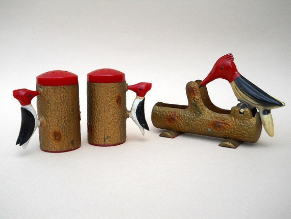 Vintage Woodpecker Toothpick Dispenser With Salt And Pepper