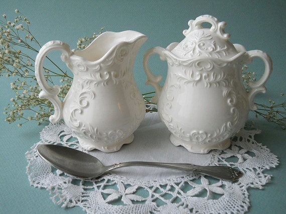 Vintage Victorian Style White Creamer and Pitcher Set
