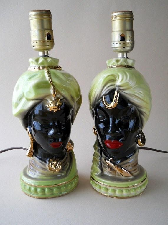 Vintage African Head Shawnee Blackamoor Table Lamps