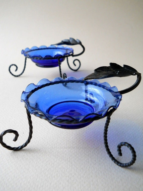 Vintage Cobalt Blue Murano Ash Trays