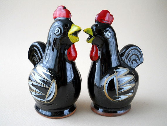 Vintage Black Chickens Salt and Pepper Shakers