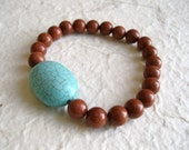 Turquoise Goldstone Bracelet - Gemstone beads, Turquoise Howlite, Goldstone, Stretch, Brown, Blue, Green, OOAK