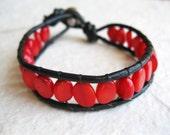 Red Coral Bracelet - Bamboo Coral Bracelet, Leather Wrap Bracelet, Red Black Bracelet
