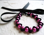 Pink Pearl Bracelet - Pearl Ribbon Bracelet, Black Ribbon Bracelet, Pink and Black, Pearls Bracelet, Pearl Jewellery, Ribbon Jewellery