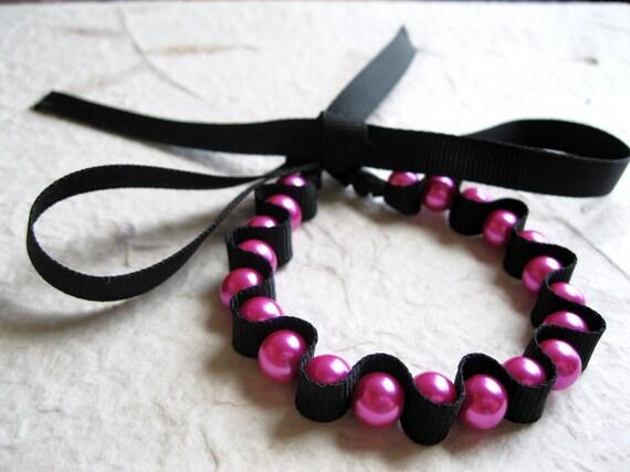Pink Pearl Bracelet - Pearl Ribbon Bracelet, Black Ribbon Bracelet, Pink and Black, Pearls Bracelet, Pearl Jewellery, Ribbon Jewellery