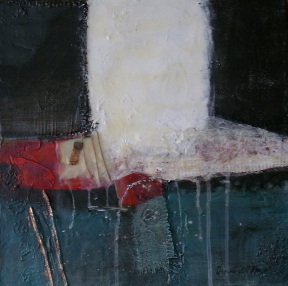 """Where Dreams May Go, 14"""" x 14"""" x 1-3/8"""" Mixed Media Collage Encaustic Painting . . . on sale . . ."""