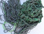 SALE Hand Knit Scarf, holiday scarf in green and gray, and made of hand dyed hand spun yarns