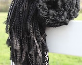 Hand Knit Shawl in Black made of Rustic Handspun Wool