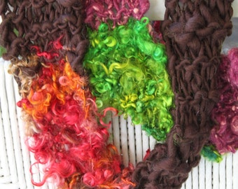 SALE Bulky Hand Knit Scarf, Jealous Guy by John Lennon, Purple and Brown, with Green and Red Locks of Super Soft Handspun Hand