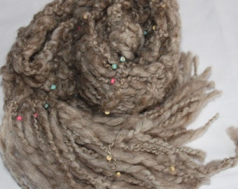SALE Long Hand Knit Bulky Scarf,  in natural tan with Beads, Super Soft Handspun Wool Yarn