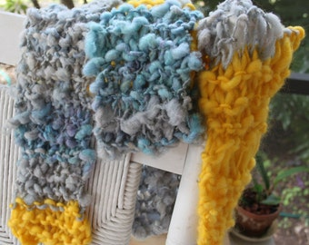 SALE Hand Knit Scarf, Golden Years by David Bowie, RocknRoll, Yellow, Gray, Blue Handspun Hand Dyed Super Soft Bulky Yarn