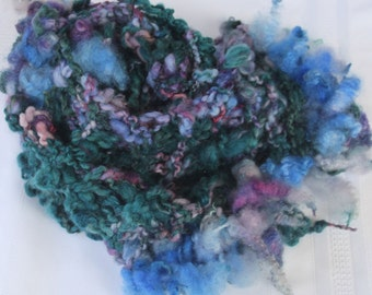 SALE Bulky Hand Knit Scarf,  in natural shades of blue, green, purple and more,  with raw locks, Soft Handspun Hand Dyed Wool Yarn