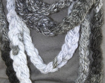 SALE Hand Knit Long Infinity Wrap Scarf, in Black, Gray and White tones and made of Bulky Yarn