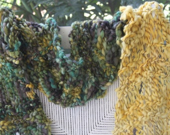 Hand Knit Bulky Scarf mini Shawl, named Easter Basket, in Green, Purple and Yellow Yarn, of Super Soft Handspun Hand Dyed Bulky Yarn