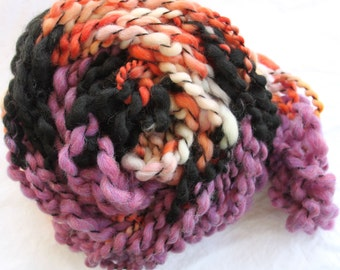 Hand Knit Bulky Shawl Scarf combo, in Purple, Orange, Black and Cream, Super Soft Handspun Wool Yarn, wonderful Present