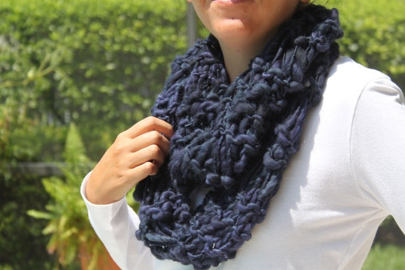 Hand Knit Infinity (Cowl) Scarf, Contemporary Paris Night Blue in Handspun Hand Dyed Bulky Wool Yarn