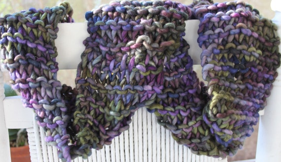 Hand Knit Infinity (Cowl) Scarf, Super Bulky Purple Blue Green in Handspun Hand Dyed Bulky Wool Yarn