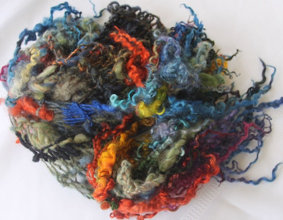 RESERVED  Hand Knit Scarf, named Rainbow, in the color of the rainbow, with raw curls and flowers, Soft Handspun Wool Yarn