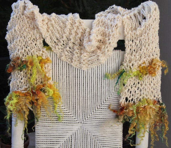 SALE Hand Knit Scarf, in Ivory with Shades of Yellow and Gold Long Curls of Handspun Hand Dyed Wool Yarn
