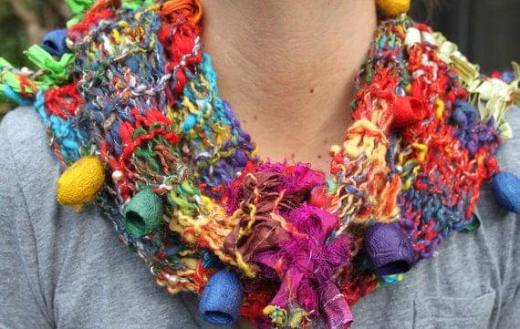 Reduced Hand Knit Multi Color Scarf, named Mardi Gras, in red, green, and yellow and multi color , handspun hand dyed yarns