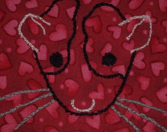 Rat Love- Hand Embroidered Wall Art