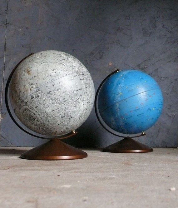 Vintage Moon and Celestial Globes. Replogle
