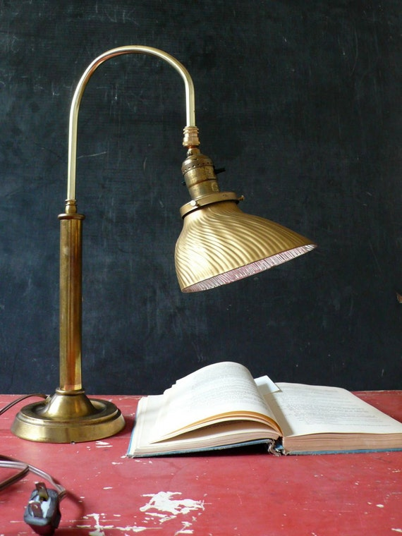 Vintage Brass industrial desk lamp with mercury glass shade