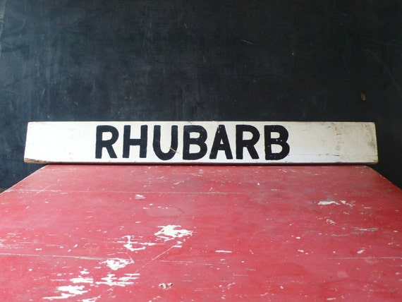 Vintage Wood Road side produce sign. Rhubarb