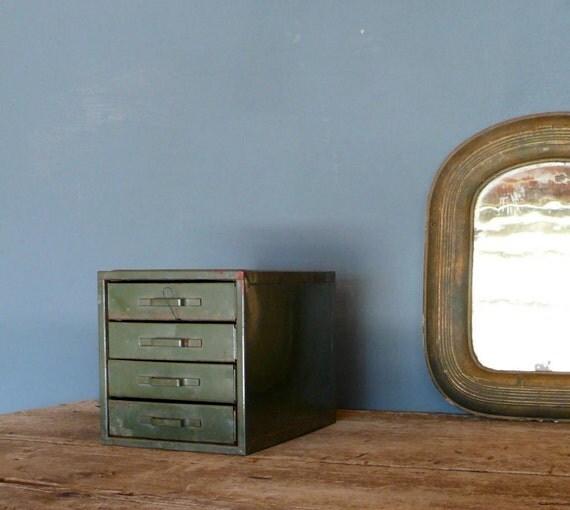 Vintage metal file cabinet drawers