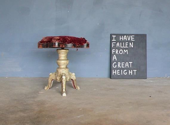 Antique Victorian Cast Iron Legged Piano Stool