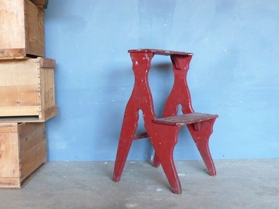 Antique Country Store Wooden Step Ladder