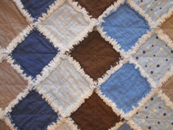 Flannel Rag Quilt Blanket Baby Boy Blue Brown - Free Shipping USA