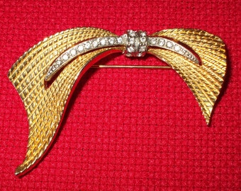 Bow Brooch Gold with Rhinestones Asymmetrical Textured Womens Vintage Jewelry