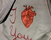 I Heart You bucket bag-- Ready to Ship