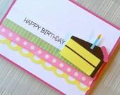 Birthday Card - Happy Birthday Card for Girl - Birthday Cake - Handmade - 3D - Ribbon - Pink