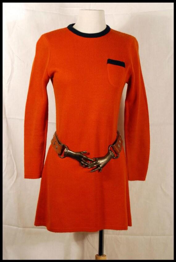 Vintage 60s Mod Knit Micro Mini Sweater Dress XS/S