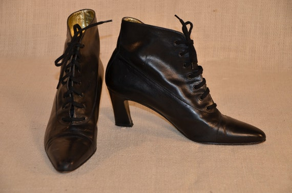 Vintage 80s Escada Black Leather Lace Up Goth Victorian Style Bootie 7 1/2B