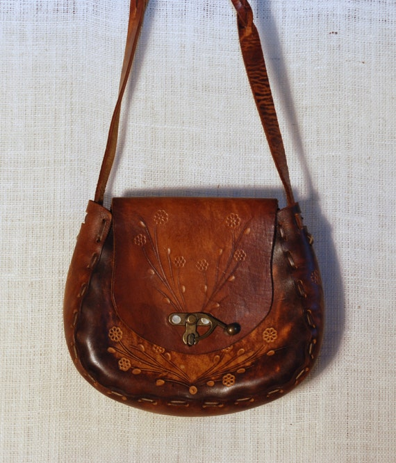 RESERVED for JILL reserved do not purchase Vintage 60s 70s Hippie Boho Floral Hand Tooled Leather Handbag Purse Satchel