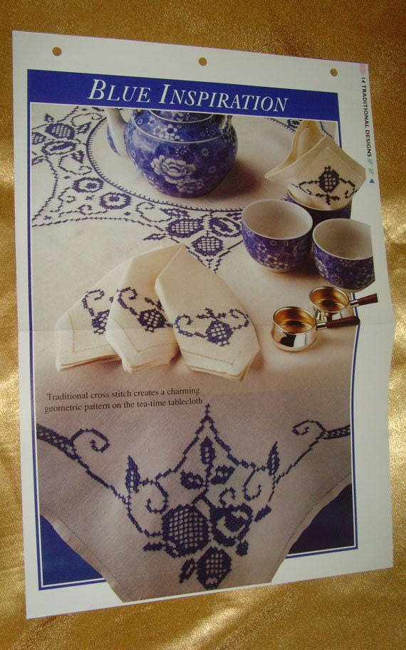 Blue Inspiration Embroidery Pattern Design Sheet